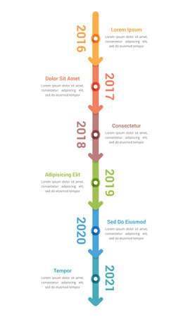 Vertical timeline infographics template with 6 arrows, workflow, process chart, vector eps10 illustration Ilustración de vector