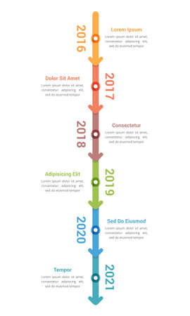Vertical timeline infographics template with 6 arrows, workflow, process chart, vector eps10 illustration Vektorové ilustrace