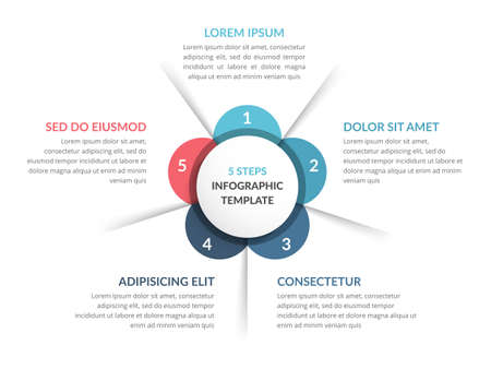 Circle diagram template with five steps or options, infographic template for web, business, presentations, vector eps10 illustration