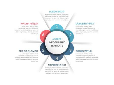 Circle diagram template with six steps or options, infographic template for web, business, presentations, vector eps10 illustration 向量圖像