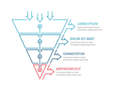 Funnel diagram with 4 elements, infographic template for web, business, presentations, vector eps10 illustration 向量圖像