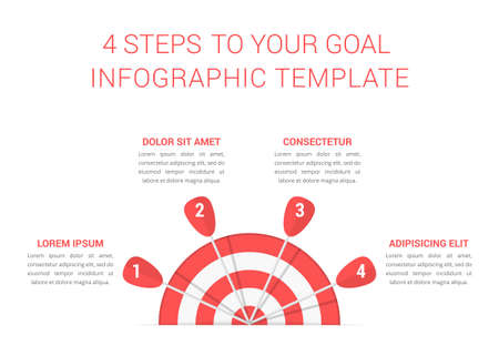 Target with four arrows, four steps to your goal, infographic template, vector eps10 illustration