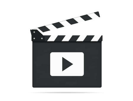 Clapper board with play button, vector eps10 illustration