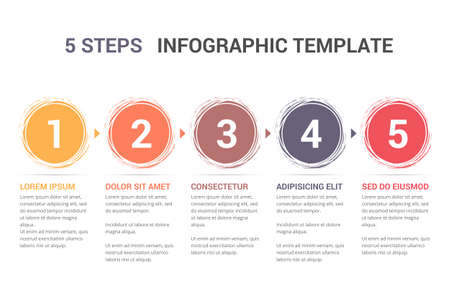 Infographic template with numbers in circles and text, five steps or options, process chart, vector illustration