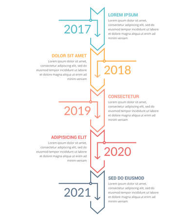 Vertical timeline template with five arrows, infographic template for web, business, presentations, workflow or process diagram, vector eps10 illustration