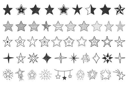 Set of hand drawn doodle stars, vector eps10 illustration