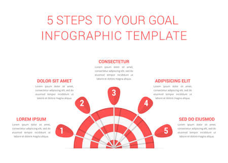 Target with four arrows, five steps to your goal, infographic template, vector illustration 向量圖像