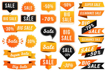 Yellow, black and orange sale banners on white background, vector illustration