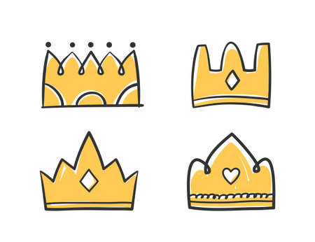 Colored hand drawn doodle crowns, four king or queen crowns, vector illustration