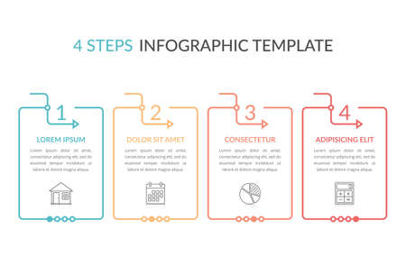Infographic template with four elements with place for your text and icons, workflow, process chart, steps or options, vector illustration