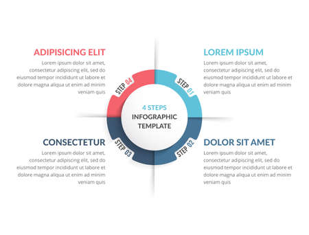 Circle diagram template with four steps or options, infographic template for web, business, presentations, vector illustration