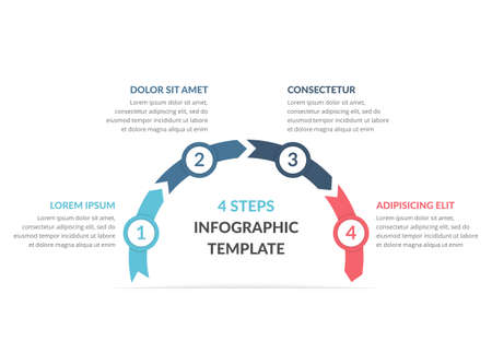 Infographic template with arrows with 4 steps, workflow, process chart, vector illustration