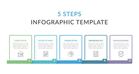 Infographic template with five elements with place for your text and icons, workflow, process chart, steps or options, vector illustration