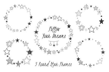 Hand drawn stars arranged in circles, five round star frames, vector illustration 向量圖像