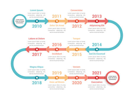 Timeline infographics template with 12 arrows, workflow, process chart, vector illustration 向量圖像