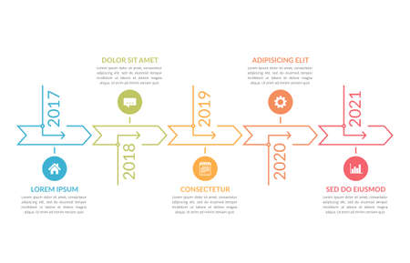 Horizontal timeline template with five arrows, infographic template for web, business, presentations, workflow or process diagram, vector illustration