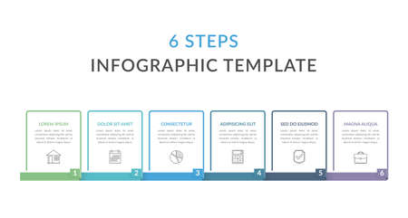 Infographic template with six elements with place for your text and icons, workflow, process chart, steps or options, vector illustration
