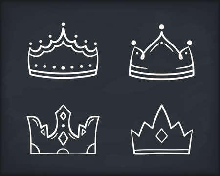 Hand drawn crown icons, four king or queen crowns, vector illustration 向量圖像