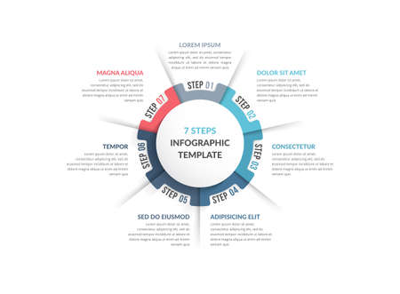 Circle diagram template with seven steps or options, infographic template for web, business, presentations, vector illustration 向量圖像