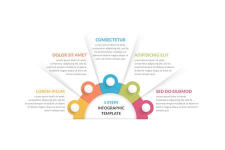 Infographic template with 5 steps, workflow, process chart, vector illustration 向量圖像