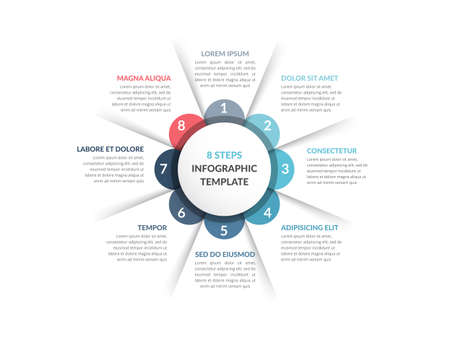 Circle diagram template with eight steps or options, infographic template for web, business, presentations, vector illustration 向量圖像