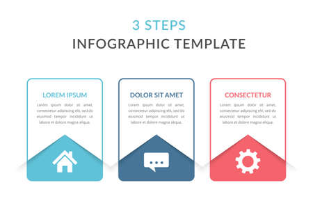 Infographic template with three elements with place for your text and icons, workflow, process chart, steps or options, vector illustration