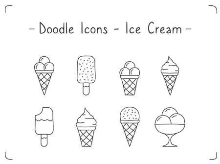 Hand drawn doodle icons set - ice cream, vector illustration 向量圖像