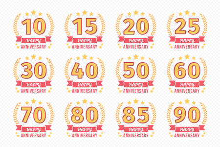 Set of 12 anniversary emblems with ribbon, 10 - 90 years, vector illustration