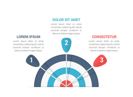 Target with three arrows, three steps to your goal, infographic template, vector illustration 向量圖像