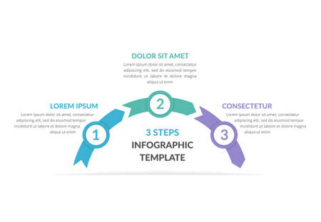 Infographic template with arrows with 3 steps, workflow, process chart, vector illustration 向量圖像