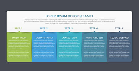 Infographic template with 5 elements for your text, vector illustration 向量圖像