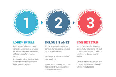 Infographic template with numbers in circles and text, three steps or options, process chart, vector illustration