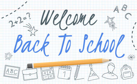 Welcome back to school banner on paper with school icons and pencil, vector eps10 illustration