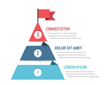 Three steps to success, infographic template, leadership or motivation concept, vector eps10 illustration