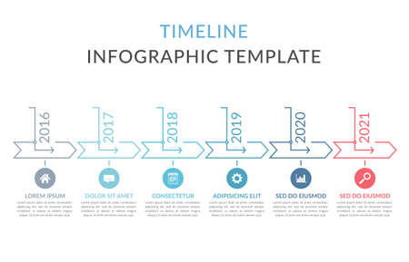 Horizontal timeline template with six arrows, infographic template for web, business, presentations, workflow or process diagram, vector eps10 illustration 向量圖像