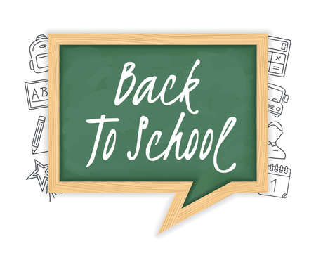 Back to school text on green blackboard with hand drawn icons around it, vector eps10 illustration 向量圖像