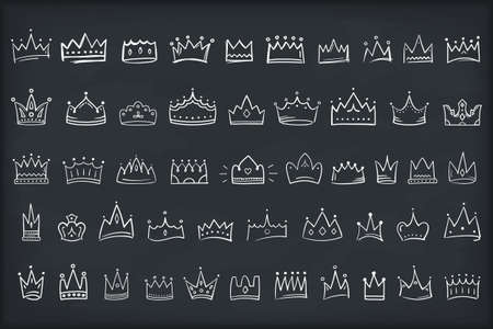 50 Hand drawn doodle crowns, king or queen crown icons, vector  illustration