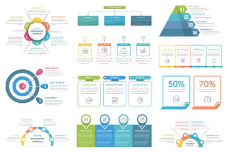Set of infographic elements - cricle diagram, flowchart, pyramid, steps or options, workflow diagram, vector eps10 illustration
