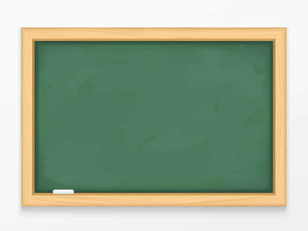 Blank green chalkboard with wooden frame, vector eps10 illustration 向量圖像