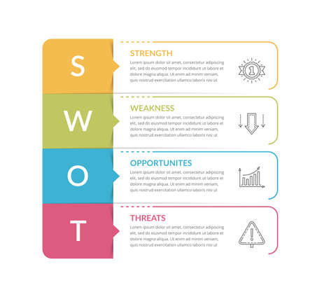 SWOT analysis, circle diagram, infographic template, vector eps10 illustration 向量圖像