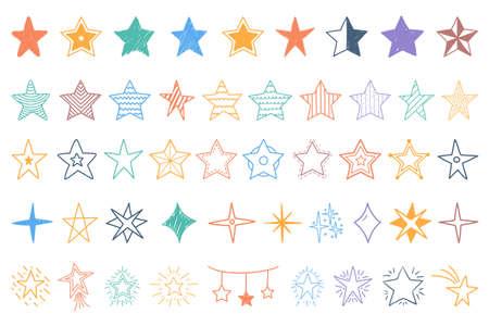 Set of colored hand drawn doodle stars, vector  illustration 向量圖像