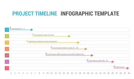 Gantt chart, project timeline with seven stages, infographic template, vector eps10 illustration