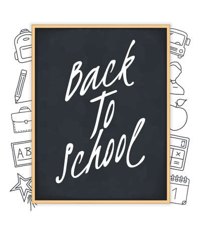 Back to school text on blackboard with hand drawn icons around it, vector eps10 illustration