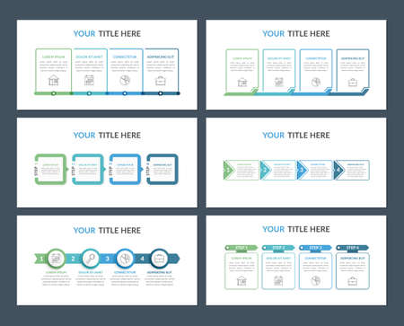 Set of six infographic templates with four steps for web, business, presentations, process, workflow, vector eps10 illustration 向量圖像