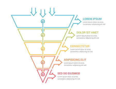 Funnel diagram with 5 elements, infographic template for web, business, presentations, vector eps10 illustration 向量圖像