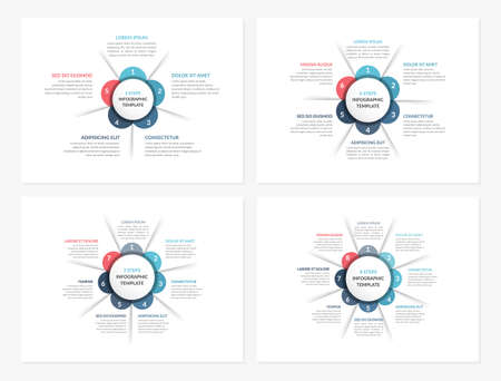 Four circle diagram templates with five, six, seven and eight steps or options, infographic templates for web, business, presentations, vector eps10 illustration