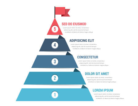Five steps to success, infographic template, leadership or motivation concept, vector eps10 illustration