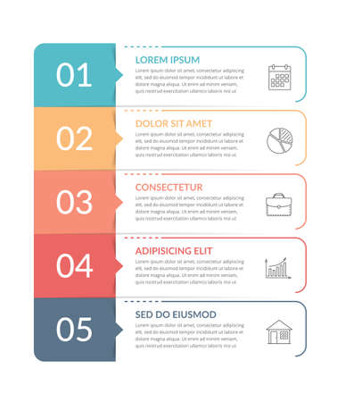 Infographic template with 5 steps, workflow, process chart, vector eps10 illustration 向量圖像