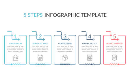 Infographic template with five elements with place for your text and icons, workflow, process chart, steps or options, vector eps10 illustration