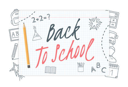 Back to school text on paper with hand drawn icons around it, vector eps10 illustration